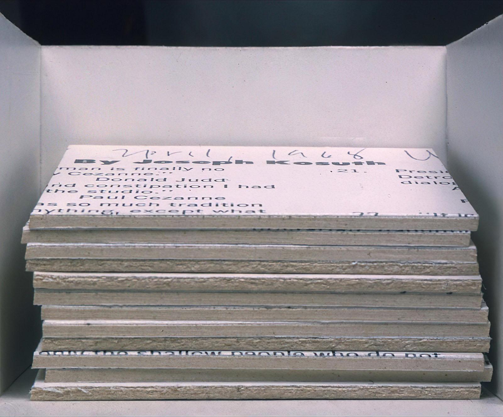 Joseph Kosuth - From «Straight Review» Visual Arts Press April 1968