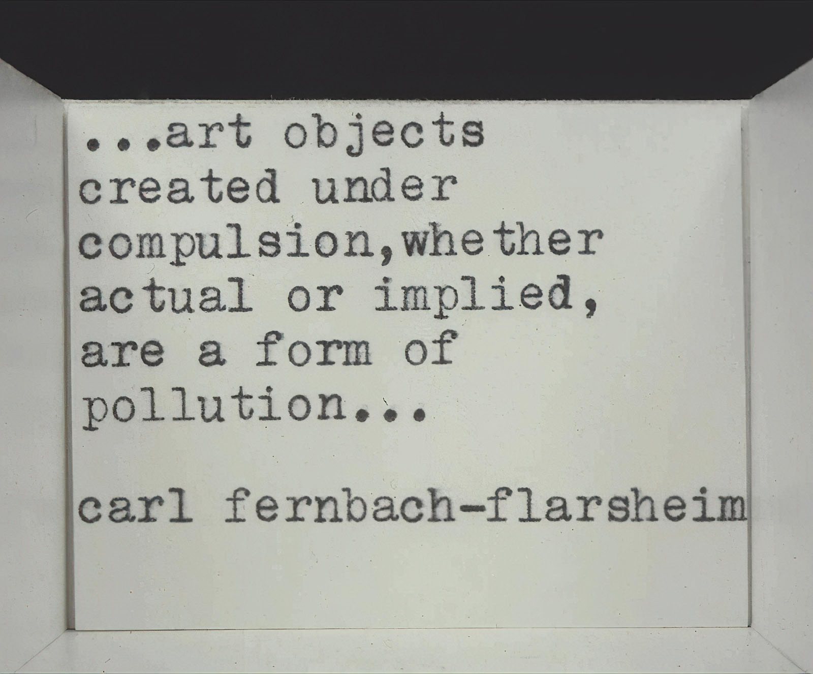Carl Fernbach-Flarsheim - Statement