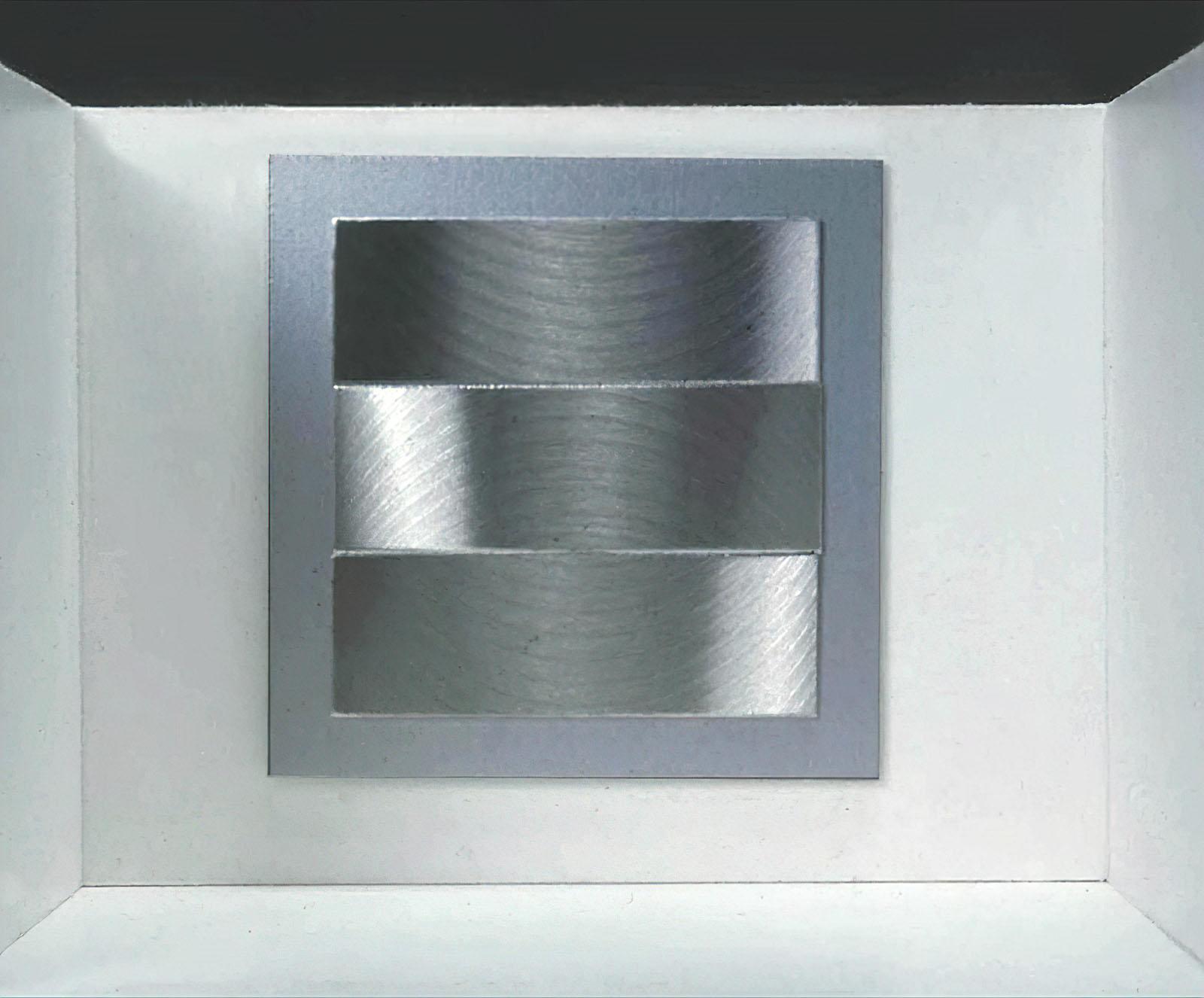 Getulio Alviani - Superficie a testura vibratile,1971 (Reprod.) Cubo + Quadrato = Volume